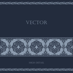 Vintage Border Floral vector design element. Old Classic style