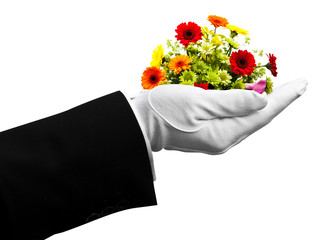 waiter holding flowers