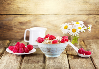 bowl of muesli with raspberry