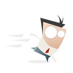 business mann cartoon laufen rennen