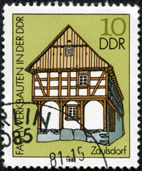stamp printed in DDR shows Historical house in Zaulsdorf