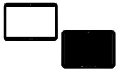 Tablet z białym/czarnym ekranem - widok horyzontalny