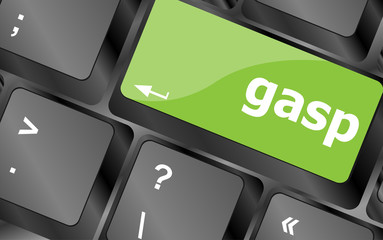 gasp word on keyboard key, notebook computer button