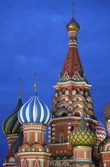 St. Basil Cathedral by night in Moscow, Russia