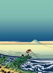 葛飾北斎 富嶽三十六景 甲州石班澤のイラスト