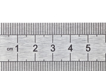 close - up metal ruler equipment at centimeter