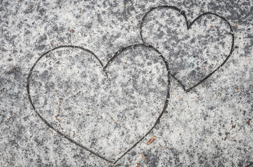 hearts on sand background