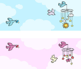 Set of two newborn theme banners with flying birds