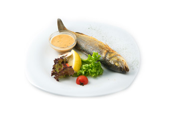 The trout fish and potatoes served in the restaurant