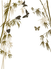 brown bamboo leaves and butterflies