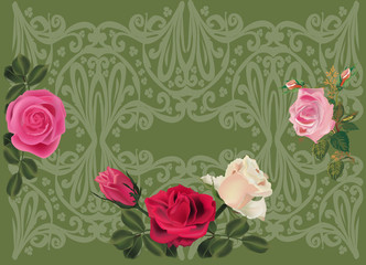 roses on green decorated background