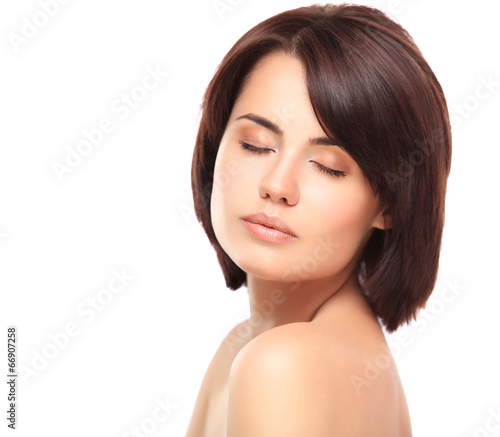 beautiful woman with eyes closed. Perfect Skin. Beauty Face.