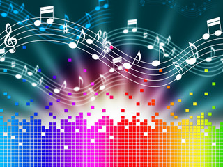 Rainbow Music Background Means Melody Singing And Soundwaves.