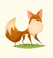 Fox character. Cartoon vector illustration.