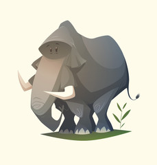 Elephant character. Cartoon vector illustration.
