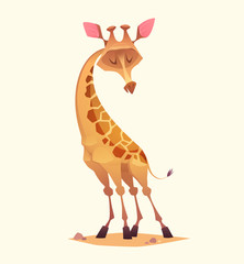 Giraffe character. Cartoon vector illustration.