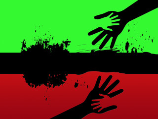 Black Line Background Means Holding Hands And Relationship.