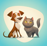 Cat and Dog characters. Cartoon styled vector illustration. - 66908450