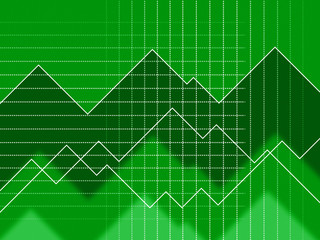 Green Spikes Background Means Grid Zigzags And Data.