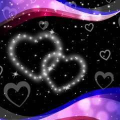 Twinkling Hearts Background Means Night Sky And Love.