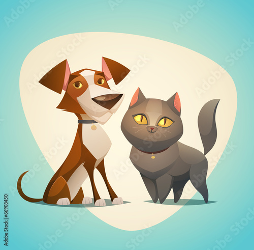 Fototapeta Cat and Dog characters. Cartoon styled vector illustration.