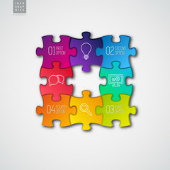 Four colorful Paper puzzle on white background - vector illustra