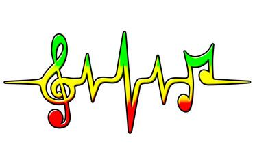 Reggae, Musik Puls, Noten, Frequenz, Notenschlüssel