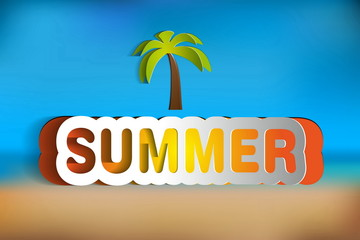 Paper vector summer - on blurred background color with palm