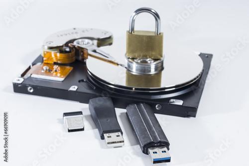 Leinwanddruck Bild Festplatte und USB Sticks - Datensicherheit