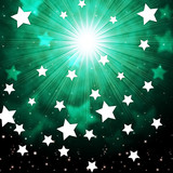 Green Sky Background Shows Radiance Stars And Heavens. poster