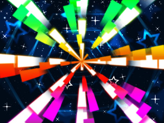 Colorful Beams Background Means Stars And Hexagonal.