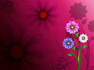 Flowers Background Shows Blossoming Growth And Nature.
