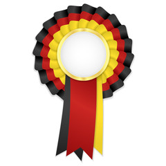 Tricolor rosette with black, yellow and red ribbon