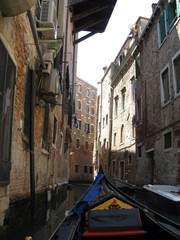 view from gondola, venice