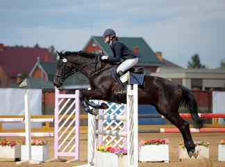 Equestrian sport: an action shot of horse jumping hurdles.