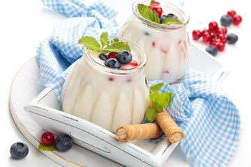 Fresh yogurt with berries.