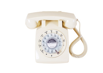 Retro rotary vintage telephone on white background