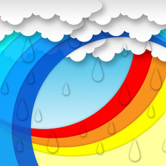 Arcs Weather Background Means Clouds Rain And Rainbow.