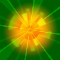 Green Beams Background Shows Shining And Rays.