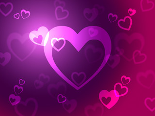Hearts Background Shows Loving  Romantic And Passionate.