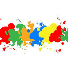 White Paint Backround Shows Colorful Artistic And Painting.