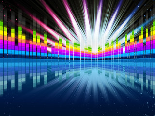 Colorful Soundwaves Background Shows Music Frequencies And Brigh