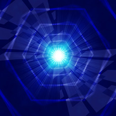 Blue Light Background Shows Hexagons Beams And Shining.