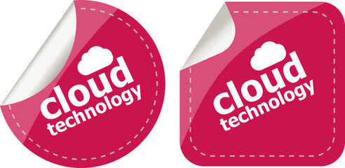 cloud application stickers label tag set isolated on white