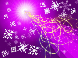 Purple Squiggles Background Shows Pattern And Snowflakes.