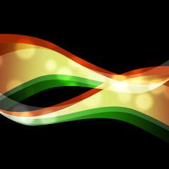 Orange Green Swirls Background Means Wavy Shapes.
