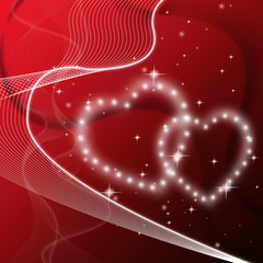 Red Hearts Background Means Love Friends Or Family.