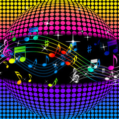 Music Disco Ball Background Shows Colorful Musical And Clubbing.