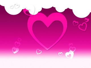Hearts And Clouds Background Shows Peaceful Sensation Or Romanti