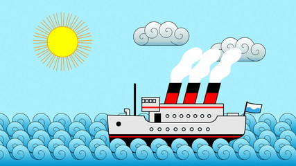 Cartoon Passenger Ship Background